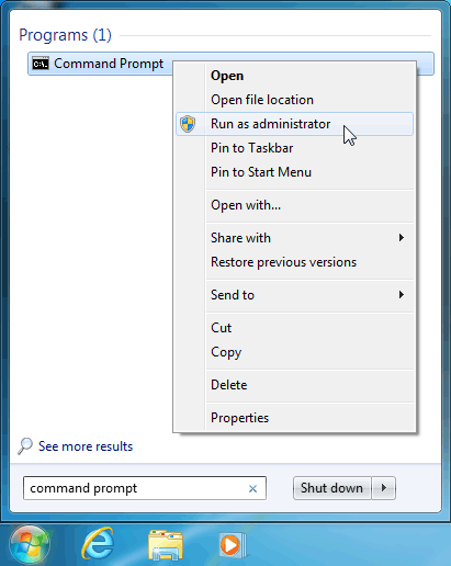 Running elevated command prompt on Windows 7