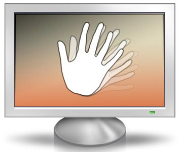 Waving hand in front of monitor that uses LED with PWM dimming
